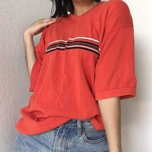 Vintage Circa 90s Orange Knit Tee With Stripe